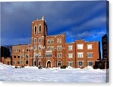 Law Enforcement Canvas Print - Maine Criminal Justice Academy In Snow by Olivier Le Queinec