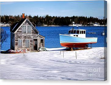 Canvas Print featuring the photograph Maine Harbor Winter Scene by Olivier Le Queinec
