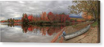 Maine Lake In Autumn Canvas Print