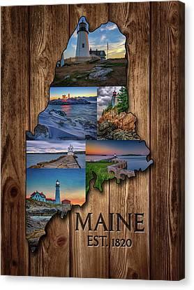 Ledge Canvas Print - Maine Lighthouses Collage by Rick Berk
