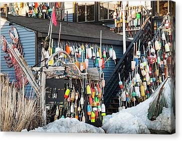 Canvas Print featuring the photograph Maine Lobster Shack In Winter by Ranjay Mitra
