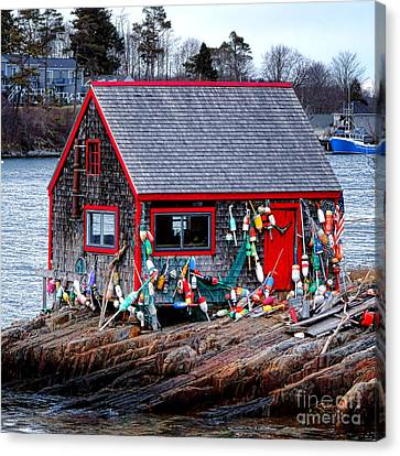 Maine Lobster Shack Canvas Print by Olivier Le Queinec