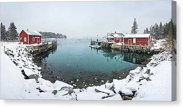 Maine Lobster Shacks In Winter Canvas Print by Benjamin Williamson