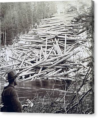 Maine Logging -  C 1903 Canvas Print by International  Images