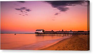 Maine Old Orchard Beach Pier At Sunset Canvas Print