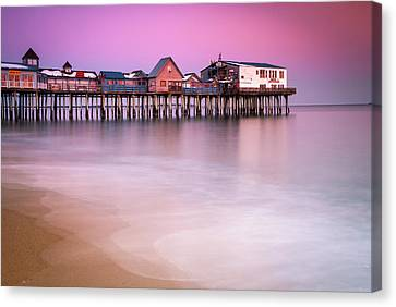 Canvas Print featuring the photograph Maine Old Orchard Beach Pier Sunset  by Ranjay Mitra