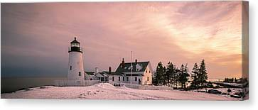 Maine Pemaquid Lighthouse After Winter Snow Storm Canvas Print
