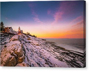 Canvas Print featuring the photograph Maine Pemaquid Lighthouse In Winter Snow by Ranjay Mitra