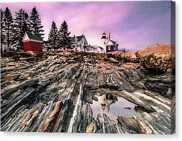 Maine Pemaquid Lighthouse Reflection In Summer Canvas Print