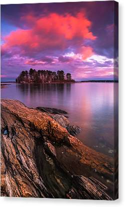 Maine Pound Of Tea Island Sunset At Freeport Canvas Print