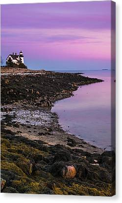 Canvas Print featuring the photograph Maine Prospect Harbor Lighthouse Sunset In Winter by Ranjay Mitra