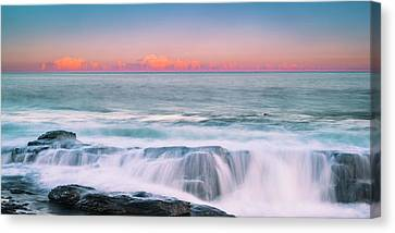 Maine Rocky Coastal Sunset Panorama Canvas Print