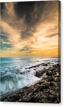 Canvas Print featuring the photograph Maine Rocky Coastal Sunset by Ranjay Mitra