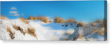 Maine Snow Dunes On Coast In Winter Panorama Canvas Print by Ranjay Mitra