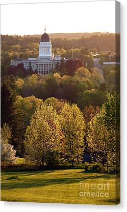 Maine State Capitol At Sunset Canvas Print by Olivier Le Queinec