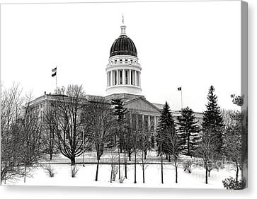 Maine State Capitol In Winter Canvas Print by Olivier Le Queinec