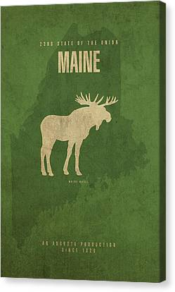 Movie Poster Canvas Print - Maine State Facts Minimalist Movie Poster Art by Design Turnpike