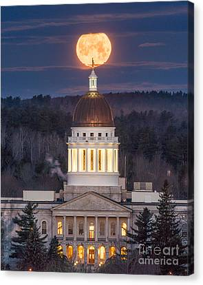 Maine State House Moon Canvas Print
