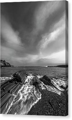 Maine Storm Clouds And Crashing Waves On Rocky Coast Canvas Print