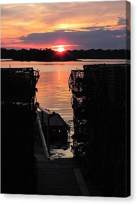 Maine Sunset And Traps Canvas Print