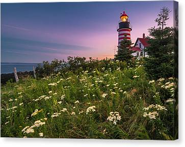 Maine West Quoddy Head Lighthouse Sunset Canvas Print