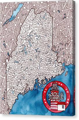 Maine Word Map Canvas Print by Terri Kelleher