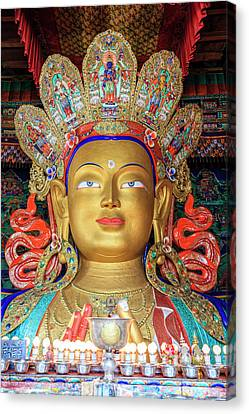 Canvas Print featuring the photograph Maitreya Buddha Statue by Alexey Stiop