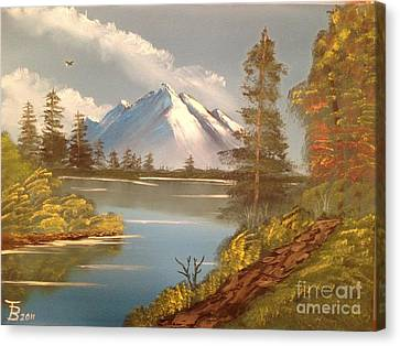 Bob Ross Canvas Print - Majestic Mountain Lake by Tim Blankenship