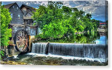 Majestic Old Mill Pigeon Forge Mill Great Smoky Mountains Art Canvas Print by Reid Callaway