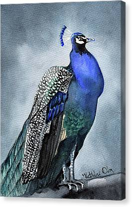 Canvas Print featuring the painting Majestic Peacock by Dora Hathazi Mendes