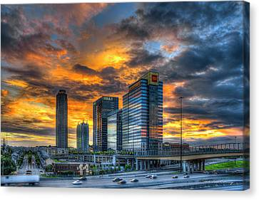 Scad Canvas Print - Midtown Majestic Reflections Sunset Art by Reid Callaway