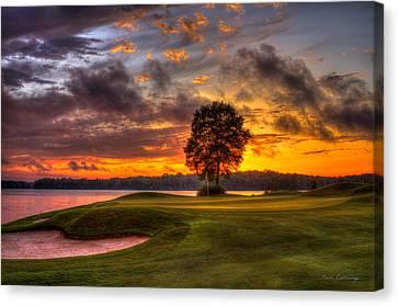 Majestic Sunset Golf The Landing Reynolds Plantation Lake Oconee Georgia Canvas Print by Reid Callaway