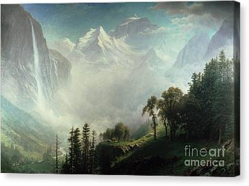 Majesty Of The Mountains Canvas Print by Albert Bierstadt