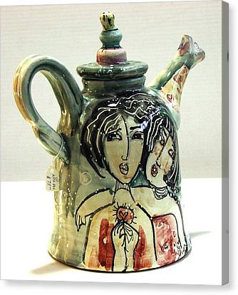 Majolica Tea Pot Canvas Print by Kathleen Raven