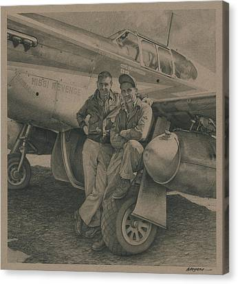 Major Edward Mccomas And Crew Chief 1944 Canvas Print by Wade Meyers