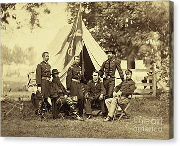 Major General Philip Sheridan And His Generals Canvas Print by American School