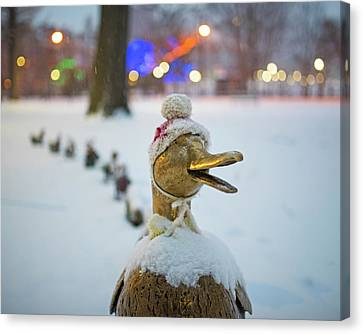Make Way For Ducklings Winter Hats Boston Public Garden Christmas Canvas Print by Toby McGuire