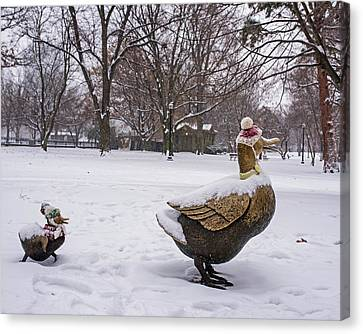 Make Way For Ducklings Winter Hats Boston Public Garden Canvas Print by Toby McGuire