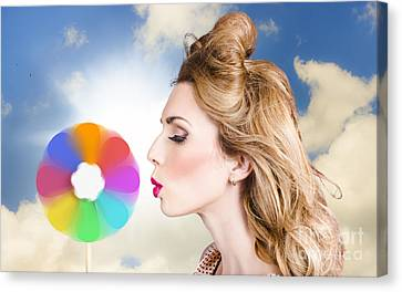 Pink Lipstick Canvas Print - Makeup Beauty Girl Blowing Hair Colors Palette by Jorgo Photography - Wall Art Gallery