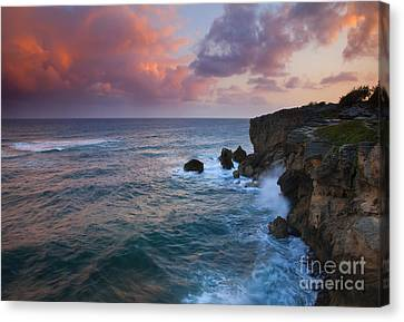 Crashing Canvas Print - Makewehi Sunset by Mike  Dawson