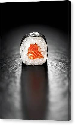 Seaweed Canvas Print - Maki Sushi Roll With Salmon by Johan Swanepoel