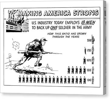 Making America Strong Cartoon Canvas Print by War Is Hell Store