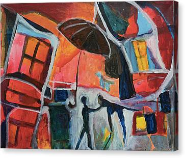 Canvas Print featuring the painting Making Friends Under The Umbrella by Susan Stone