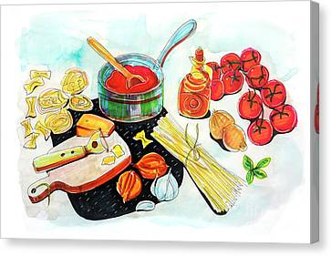 Canvas Print featuring the drawing making Italian tomato's sauce by Ariadna De Raadt
