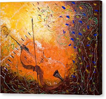 Canvas Print featuring the painting Making Melody by Piety Dsilva