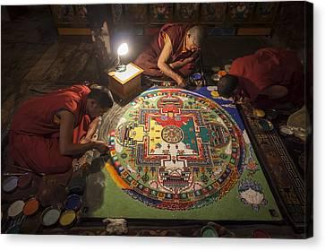 Making Of Mandala Canvas Print by Hitendra SINKAR