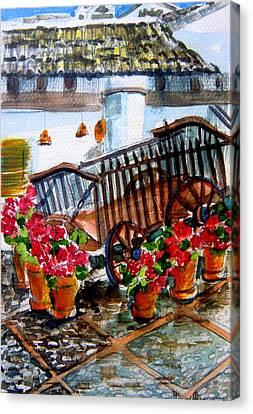Malaga Spain Flower Cart Canvas Print by Mindy Newman