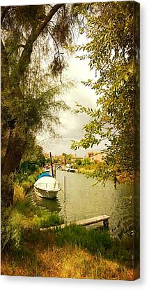 Canvas Print featuring the photograph Malamocco Canal No1 by Anne Kotan