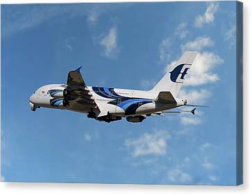 Airlines Canvas Print - Malaysia Airlines Airbus A380-841 by Nichola Denny
