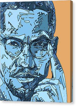 Malcolm X Canvas Print - Malcolm X Blue And Orange by Bekim Art